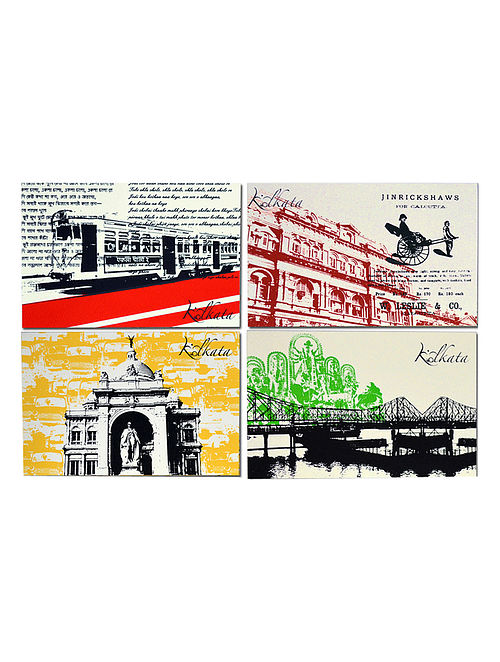 Set of 4 Kolkata City Note Cards in a Gift Box