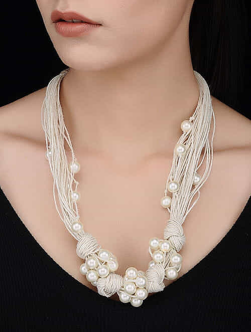White Handcrafted Jute Necklace