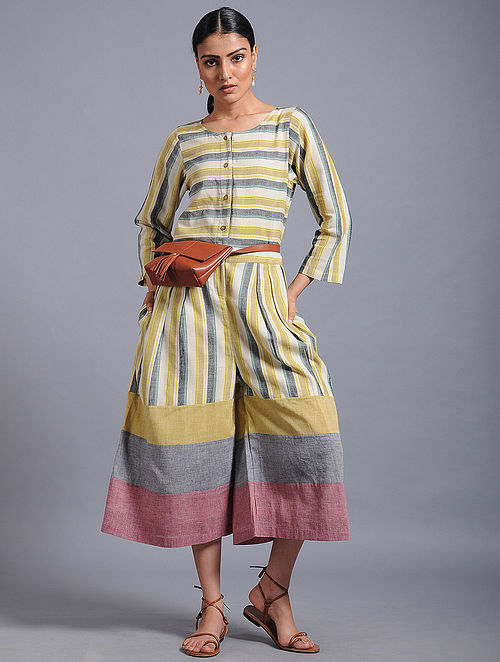 6defbc6d936 Buy Multicolored Striped Khadi Jumpsuit Online at Jaypore.com