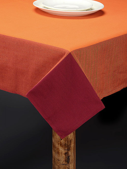 Orange Hand Woven Cotton Table Cover