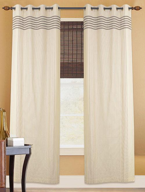 White-Black Cotton Curtain