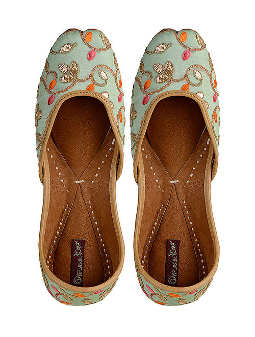 17cdaf054ad Buy Green- Multicolored Hand-Embroidered Leather Jutti Online at ...