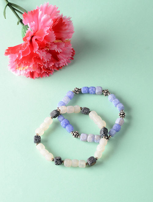 Blue White Onyx Beaded Bracelets (Set of 2)