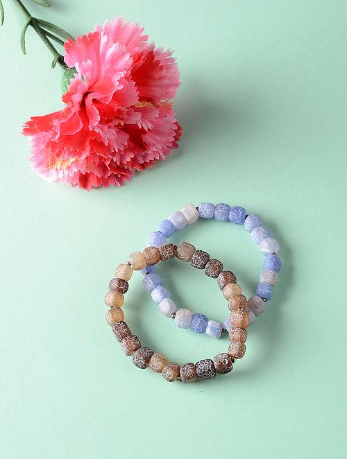 Blue Brown Onyx Beaded Bracelets (Set of 2)