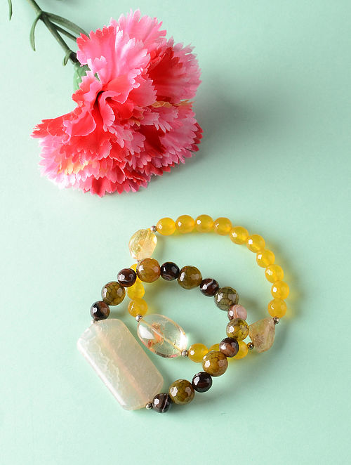 Yellow Brown Onyx and Citrine Beaded Bracelets (Set of 2)