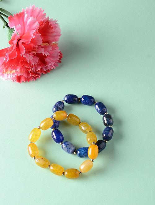 Blue Yellow Onyx Beaded Bracelets (Set of 2)