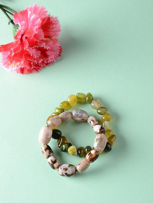 Green Brown Onyx Beaded Bracelets (Set of 2)