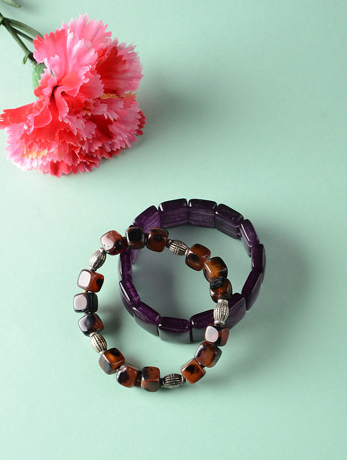 Purple Brown Onyx Beaded Bracelets (Set of 2)