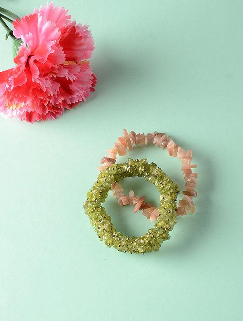 Green Brown Peridot and Aventurine Bracelets (Set of 2)