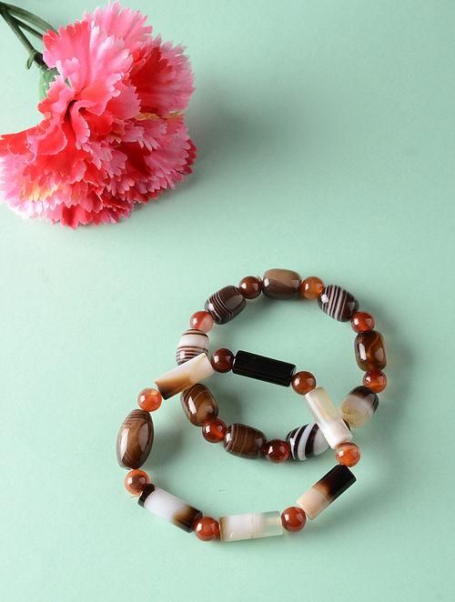 Brown White Onyx Natural Tumbles Bracelets (Set of 2)