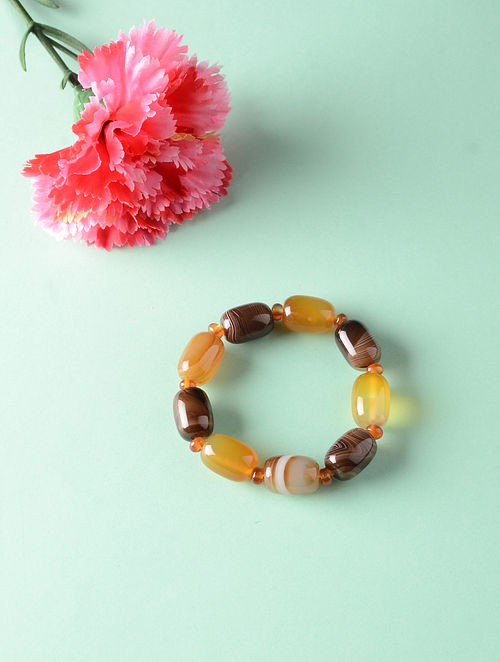 Brown Yellow Onyx Natural Tumble Bracelet