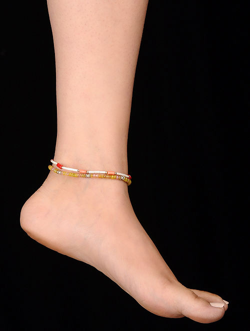Multicolored Onyx and Coral Anklets (Set of 2)