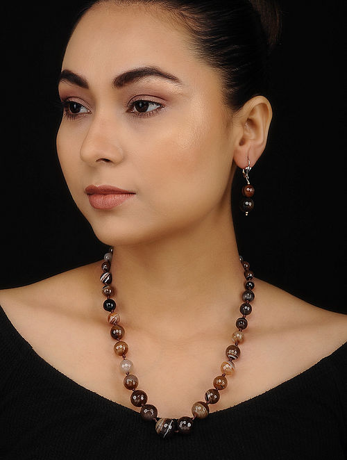 Brown Quartz Beaded Necklace with Earrings (Set of 2)