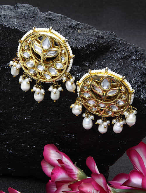 Pearl Beaded Gold Tone Kundan Earrings