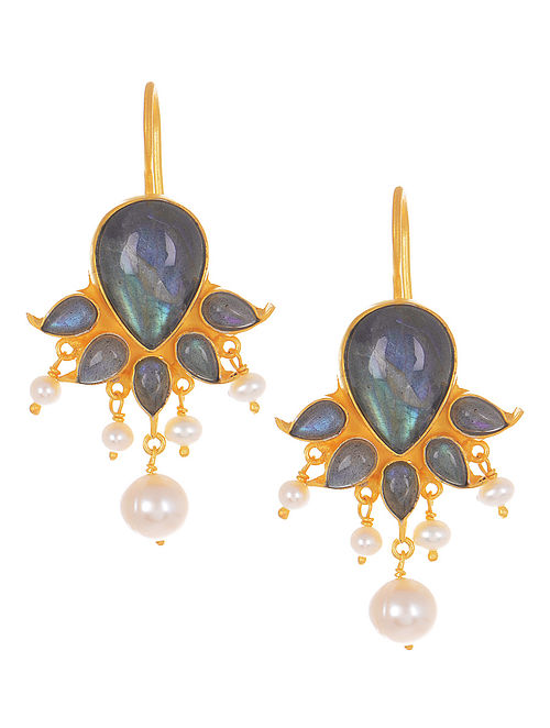 003379a86 Buy Grey Labradorite Gold Tone Silver Drop Earrings with Pearls ...