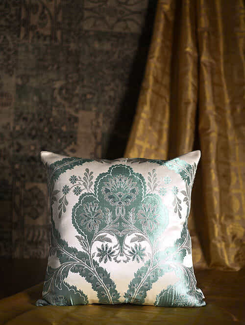 Garden of The East Green Silk Cushion Cover (20in x 19.5in)