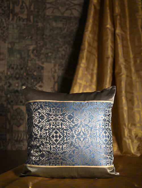 Antique floral Blue-Grey Silk Cushion Cover (20in x 20in)