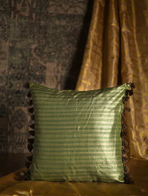 Ribbon Green Silk Cushion Cover with Tassels (20in x 20in)