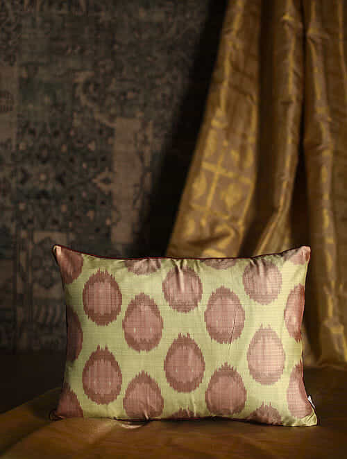 Polka Peach Silk Cushion Cover (20in x 14in)
