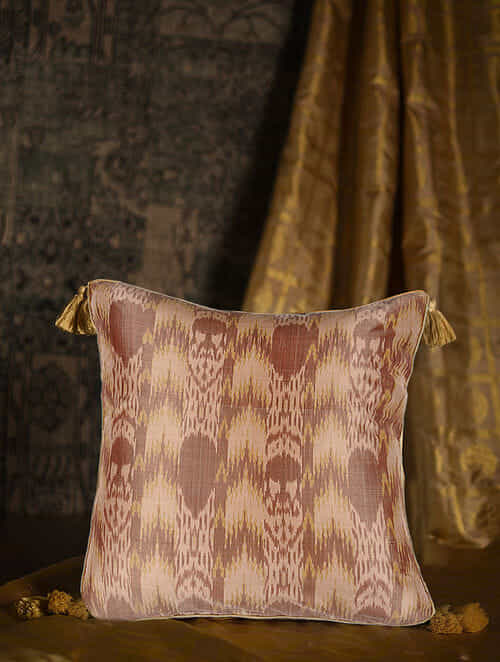 Totem Peach Silk Cushion Cover with Tassels (20in x 20in)