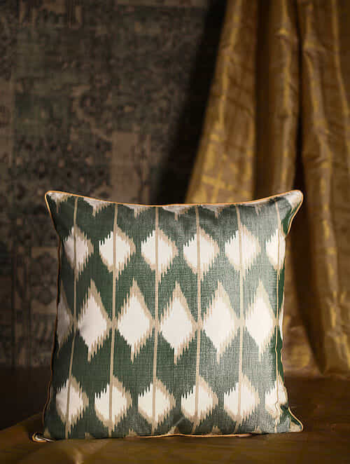 Rhombus Green Cotton and Silk Cushion Cover (20in x 20in)