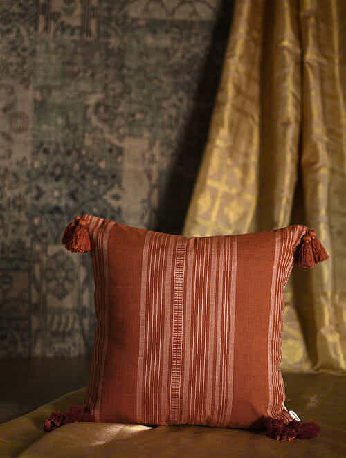 Calypso Stripes Rust Cotton and Linen Cushion Cover with Tassels (18in x 18in)
