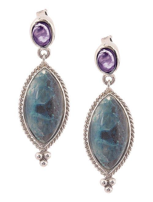 Shattuckite and Amethyst Silver Earrings