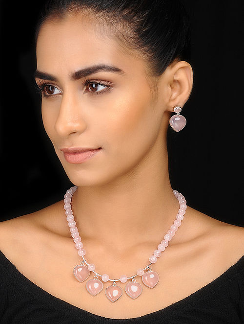 Chalcedony and Rose Quartz Silver Necklace with a Pair of Earrings(Set of 2)