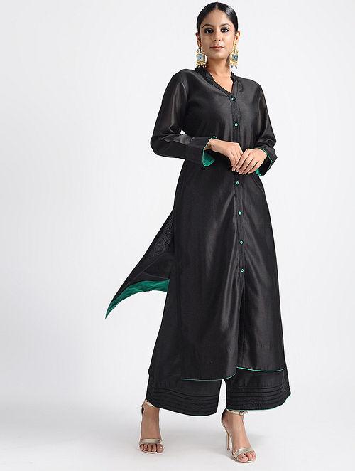 bd6e5a9e0d6 Buy Black Chanderi Silk Kurta with Thread and Zari Detail Online at ...