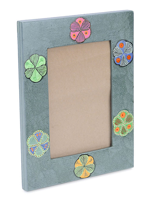 Grey-Multicolor Floral Hand-painted Papier-mache and Wood Photo Frame