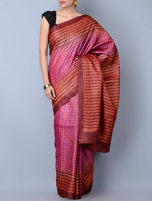 87b65cf7ecffcb Buy Red-Pink-Maroon Tussar Silk Handblock Printed Saree Online at ...