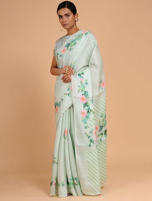 9d2de86a076b1 Buy Green-Pink Printed Modal Silk Saree Online at Jaypore.com