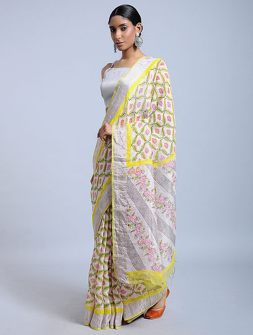 Ivory-Yellow Block-printed Linen Saree with Zari
