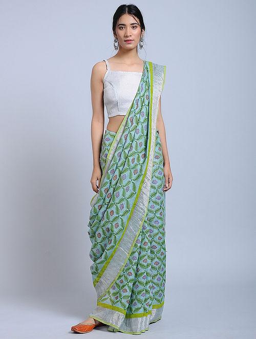 Blue-Green Block-printed Linen Saree with Zari