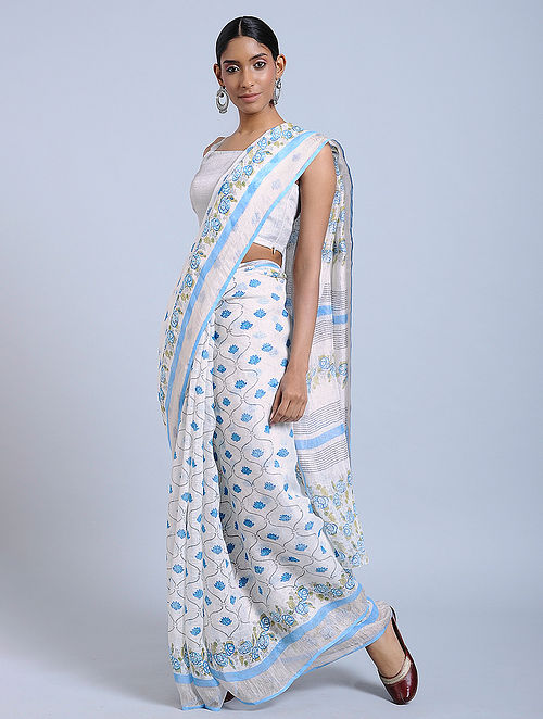 Ivory-Blue Block-printed Linen Saree with Zari
