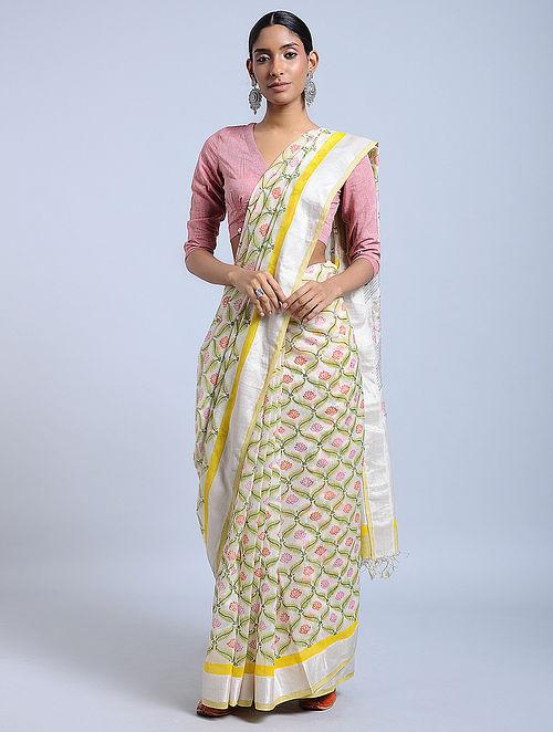 Ivory-Green Block-printed Chanderi Saree