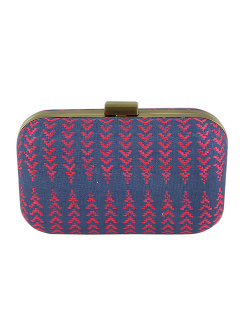 Blue-Red Hand Woven Clutch