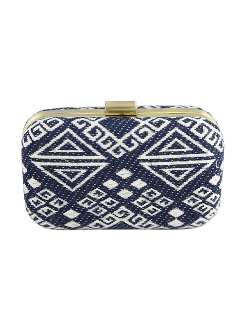 Blue-White Hand Woven Clutch
