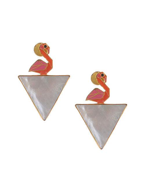 Pink Orange Enameled Gold Plated Brass Earrings with Mother of Pearl