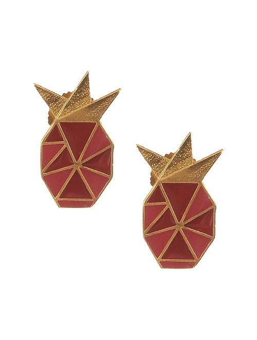 Red Pink Enameled Gold Plated Brass Earrings