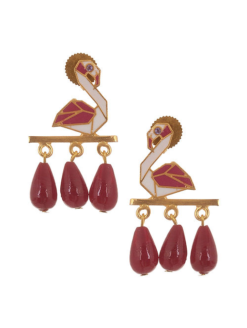Red White Enameled Gold Plates Brass Earrings with Ceramic Stones