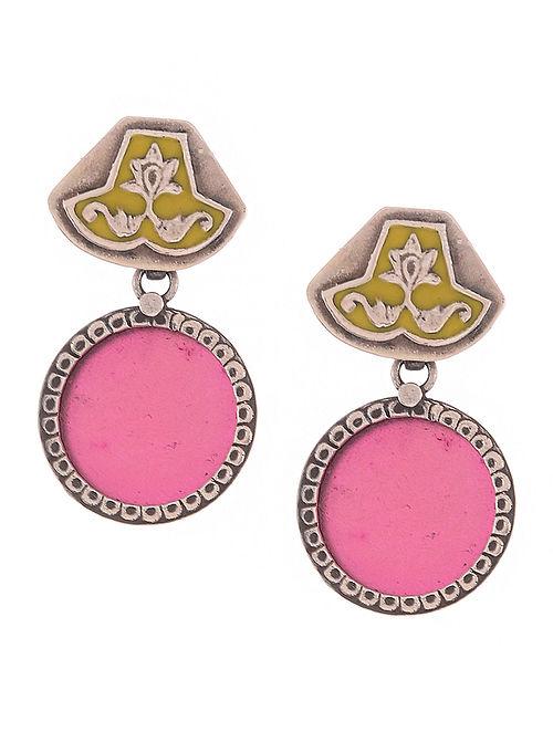 Pink-Yellow Enameled Silver Earrings