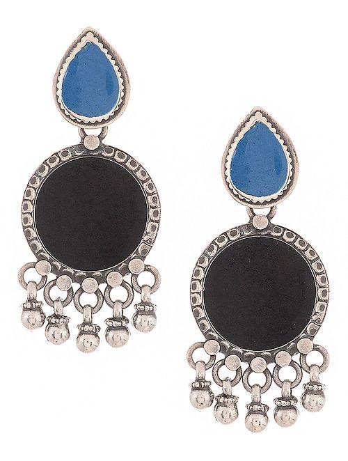 Black-Blue Enameled Silver Earrings