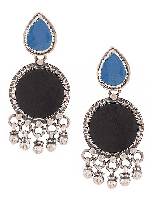 dcfb33d7180 Buy Black-Blue Enameled Silver Earrings Online at Jaypore.com