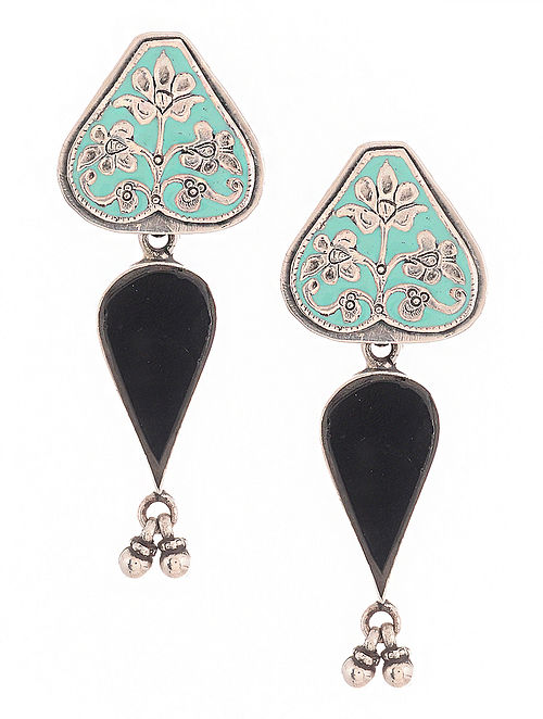 Blue-Black Enameled Silver Earrings with Floral Motif