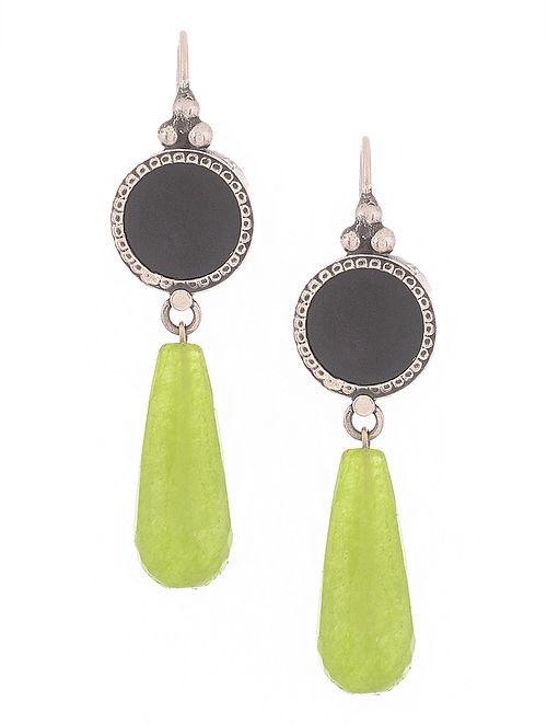 Black-Green Silver Earrings