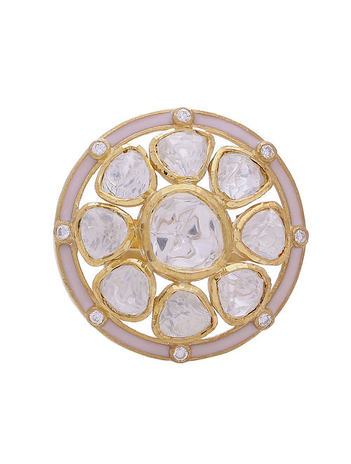 Pink Enameled Gold Tone Silver Adjustable Ring with Pearls