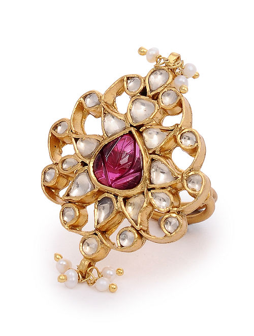 Maroon Gold Plated Kundan Adjustable Silver Ring with Pearls