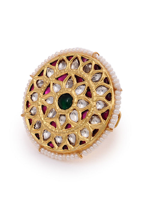 Maroon Green Gold Plated Kundan Adjustable Silver Ring with Pearls