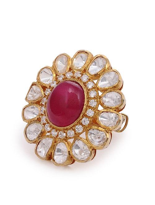 Maroon Gold Plated Kundan Silver Adjustable Ring